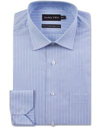 Double Two - Big And Tall Blue Varied Stripe Formal Shirt - Lyst
