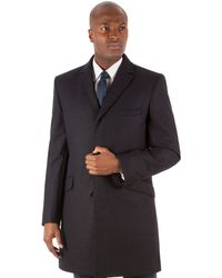 Ben Sherman - Charcoal Puppytooth Plain 3 Button Kings Slim Fit Overcoat - Lyst