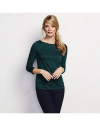 Lands' End - Green Cotton Modal Laser Cut Tee - Lyst
