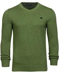 Raging Bull - Green V-neck Cotton Jumper - Lyst