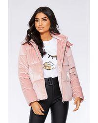 Quiz - Dusky Pink Velvet Puffer Jacket - Lyst