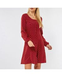 2fd77f4913 Dorothy Perkins - Tall Red Spot Print Skater Dress - Lyst