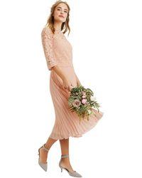 6038ee616f8 Oasis - Dusky Pink 3 4 Sleeve Lace Top Midi Dress - Lyst