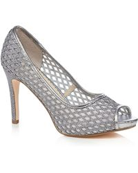 Début - Silver High Stiletto Heel Peep Toe Shoes - Lyst