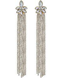 Red Herring - Gold Diamante Tassel Statement Drop Earrings - Lyst