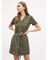 Miss Selfridge - Khaki Utility Shirt Dress - Lyst