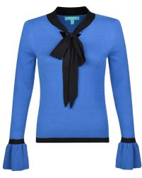 Fever - Blue 'tessa' Long Sleeve Knitted Top - Lyst
