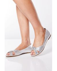 90156568b Quiz - Bridal Silver Shimmer Diamante Peep Toe Court Shoes - Lyst
