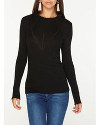 Dorothy Perkins - Tall Black Ribbed Lettuce Frill Jumper - Lyst