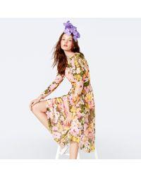 Richard Quinn - Yellow Floral Print Mesh Round Neck Long Sleeve Midi Dress - Lyst