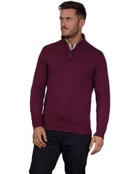 Raging Bull - Burgundy Knitted Cotton Cashmere 1/4 Zip Jumper - Lyst