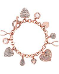 Red Herring - Rose Gold Crystal Charm Bracelet - Lyst