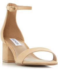 1543da003da Steve Madden - Tan Leather  new Irenee  Mid Block Heel Ankle Strap Sandals -