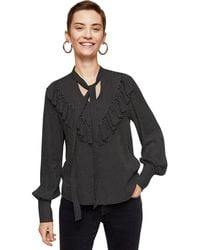 Mango - Black Printed 'retro' V-neck Ruffle Top - Lyst