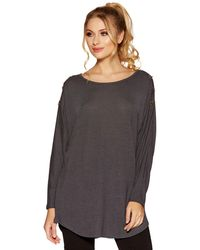 Quiz - Charcoal Grey Eyelet Light Knit Top - Lyst