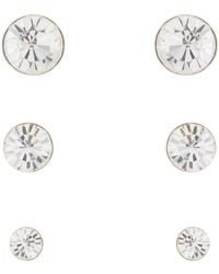 Pilgrim - Pack Of Three Silver Diamante Stud Earrings - Lyst