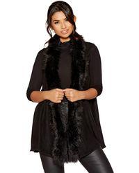 Quiz - Black Faux Fur Trim Waistcoat - Lyst