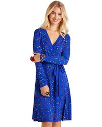 d9f97f2a4d7a Warehouse. Yumi' - Blue Abstract Printed Jersey Wrap Dress - Lyst
