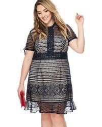 Lipsy - Navy Lace 'chloe Marie' High Neck Knee Length Plus Size Shift Dress - Lyst