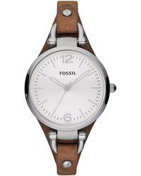 Fossil - Ladies Brown Slim Strap Watch Es3060 - Lyst