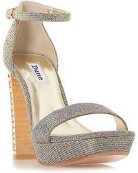 Dune - Bronze Leather 'medusa' High Block Heel Ankle Strap Sandals - Lyst
