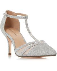 a0c1efeda9 On sale Roland Cartier - Silver 'dennice' Mid Stiletto Heel T-bar Sandals -  Lyst