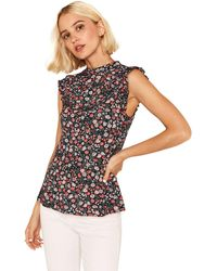 Oasis - Multi Ditsy High Neck Frill Peplum Top - Lyst