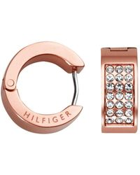 Tommy Hilfiger - Ladies Stainless Steel, Rose Gold Ip Pave Earrings - Lyst