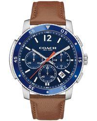 COACH - Men's Brown 'bleecker' Chronograph Leather Strap Watch 14602027 - Lyst