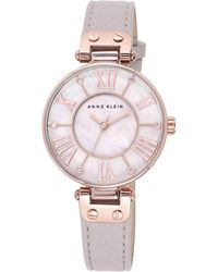 Anne Klein - Ladies Rose Gold-tone And Taupe Leather Strap Watch 10/n9918rgtp - Lyst