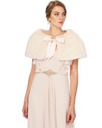 Jenny Packham - Light Pink Faux Fur Cape - Lyst