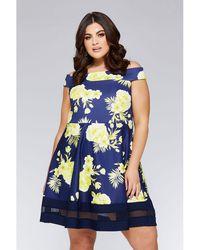 3ad5f281260f Dorothy Perkins Navy Ditsy Floral Asymmetric Midi Skater Dress in Blue -  Lyst
