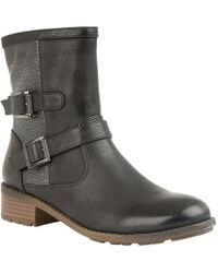 Lotus - Black 'conniston' Mid Block Heel Biker Boots - Lyst