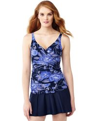 Lands' End - Blue Shape And Enhance Wrap Front Floral Print Tankini Top - Lyst