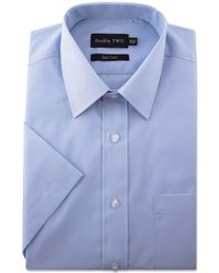 Double Two - Big And Tall Blue Short Sleeve Classic Cotton Blend Shirt - Lyst
