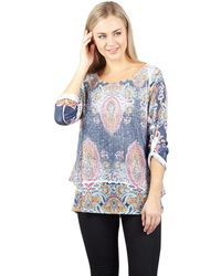Izabel London - Navy Oversized Print Top - Lyst