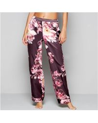 Lipsy - Purple Floral Print Satin 'kaitlyn' Pyjama Bottoms - Lyst