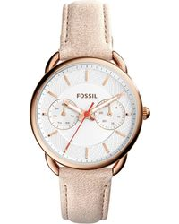 Fossil - Ladies Brown Leather 'tailor' Watch Es4007 - Lyst