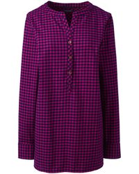 Lands' End - Pink Brushed Flannel Tunic - Lyst