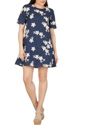 Apricot - Navy Floral Embroidered Swing Dress - Lyst