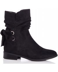 Quiz - Black Faux Suede Ruched Ankle Boots - Lyst