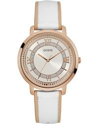 Guess - Ladies Rose Gold Watch With White Dial And White Leather Strap W0934l1 - Lyst