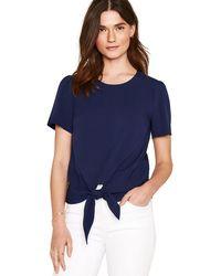 Oasis - Navy Tie Front T-shirt - Lyst