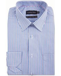 Double Two - Big And Tall Blue Vertical Stripe Formal Shirt - Lyst
