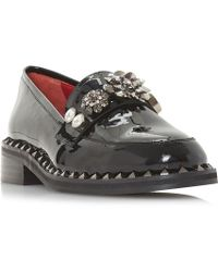 Dune Black - Gem Stone Patent Leather Loafers - Lyst