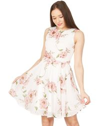 Izabel London - Pink Floral Printed Waisted Dress - Lyst