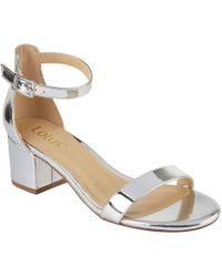 Lotus - Silver 'vitus' Mid Block Heel Ankle Strap Sandals - Lyst