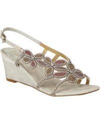 Lotus - Silver Diamante 'annabella' Mid Wedge Heel Slingbacks - Lyst