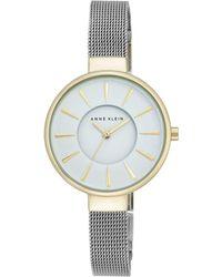 Anne Klein - Womens Silver Tone Mesh Watch With A White Dial Ak/n2443wttt - Lyst