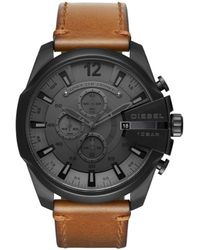 DIESEL - Men's Brown 'mega Chief' Chronograph Leather Strap Watch - Lyst